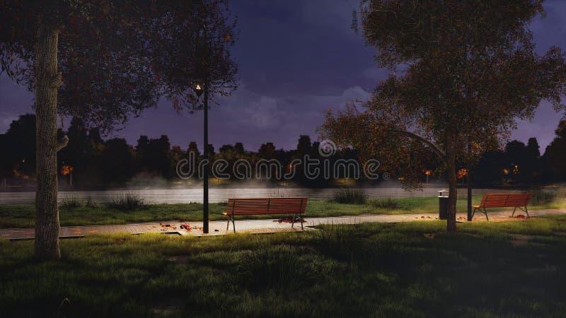 Garez le passage couvert sur l'au bord du lac la nuit foncé automne photos libres de droits