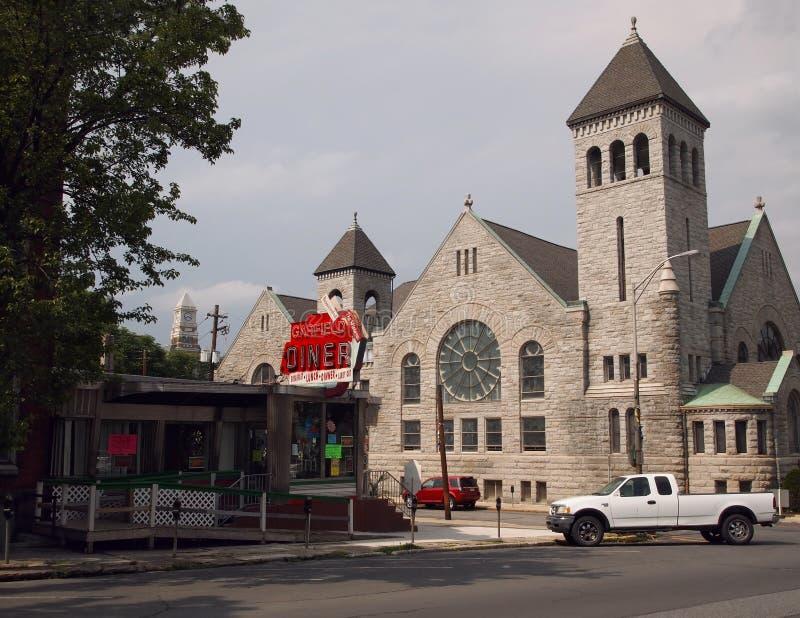 Garfield Diner On Garfield Square Pottsville Pensilvania fotografia stock libera da diritti