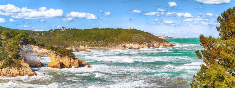 Gargano coast: San Felice arch Architello. Vieste, San Felice arch rock bay, Gargano peninsula, Apulia, southern Italy, Europe stock image