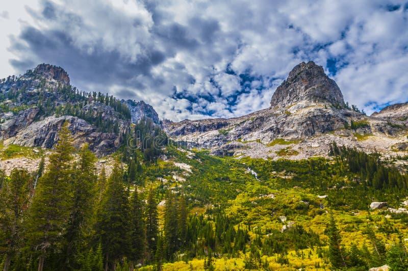 Garganta da cascata - parque nacional grande de Teton foto de stock