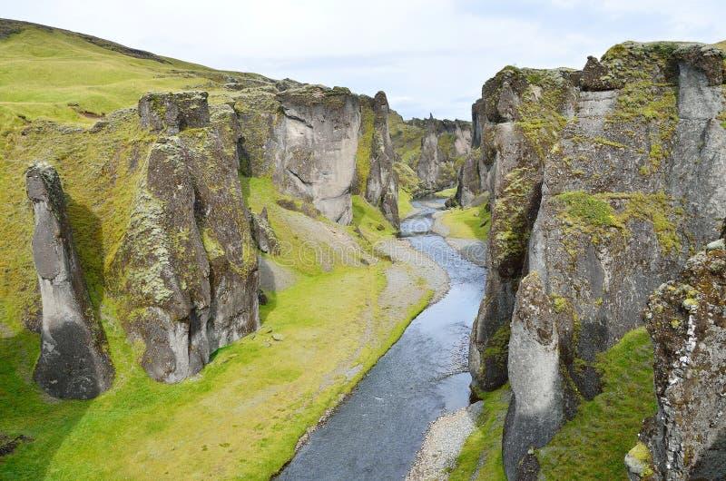 Garganta de Fatallity (Fjadrargljufur) - o Grand Canyon de Islândia foto de stock
