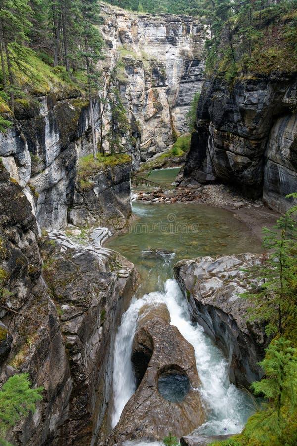 Garganta de Maligne no parque nacional de jaspe, Canadá imagens de stock