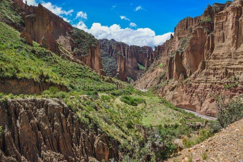 Garganta de Palca perto de La Paz, Bolívia foto de stock royalty free
