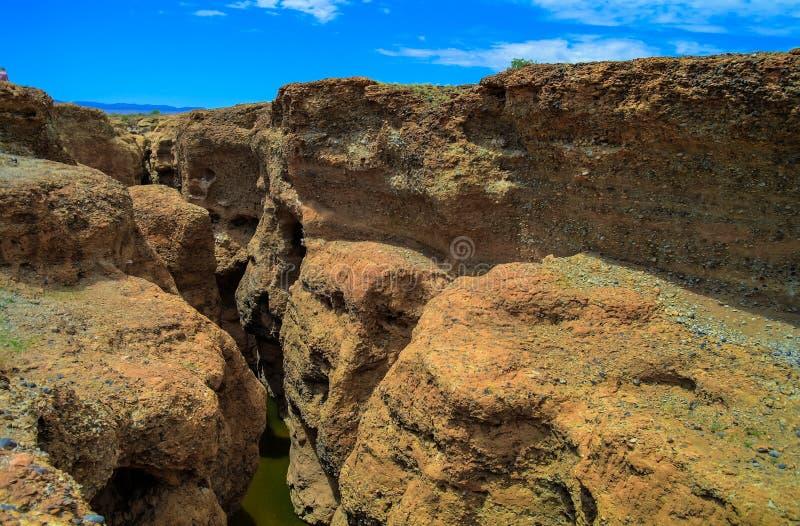 Garganta de Sesriem do rio de Tsauchab, Sossusvley Namíbia fotografia de stock