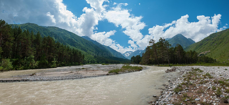 Garganta del río de Chegem foto de archivo