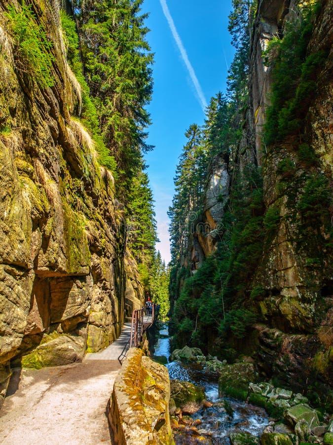 Garganta estrecha debajo de la cascada en montañas gigantes, Polonia de Kamienczyk foto de archivo libre de regalías