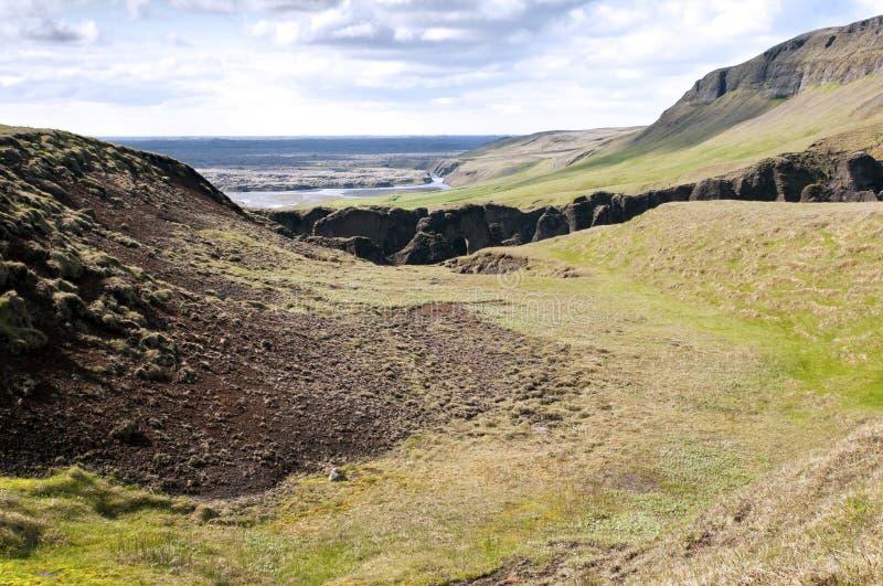 A garganta Fjadrargljufur, Islândia imagem de stock