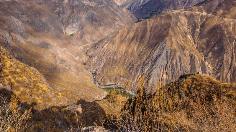Garganta no Peru, a garganta a mais profunda de Colca no mundo imagens de stock royalty free