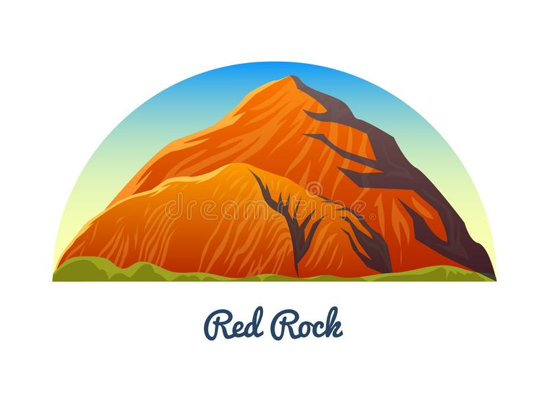 Garganta vermelha da rocha, Nevada Picos de montanhas, paisagem cedo em uma luz do dia curso ou acampamento, escalando Partes sup ilustração do vetor
