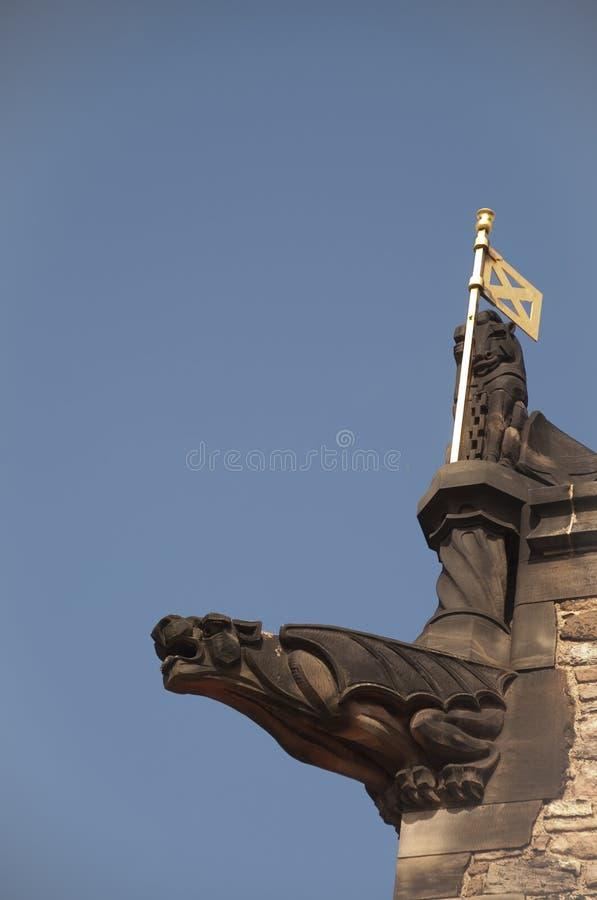 Gargouille, château d'Edimbourg photos libres de droits