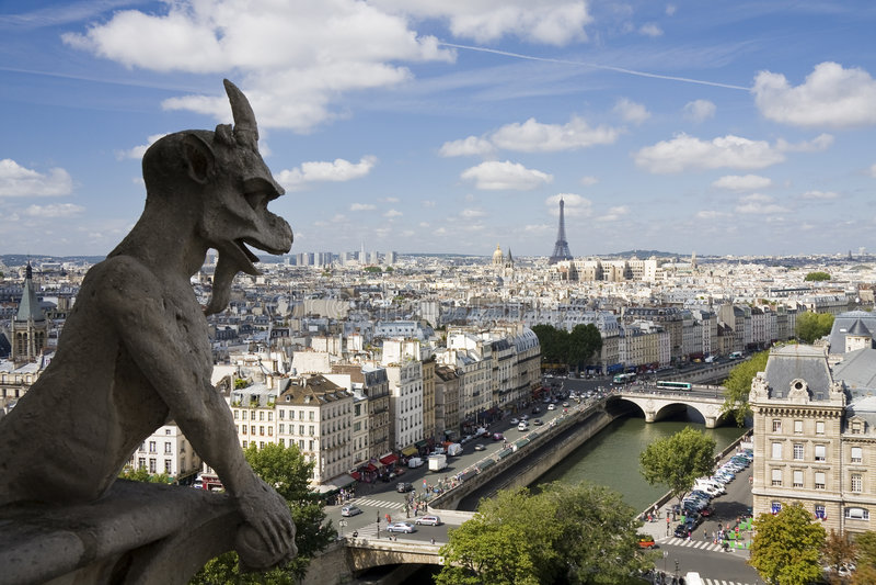 Gargouille in Notre Dame in Parijs stock afbeelding