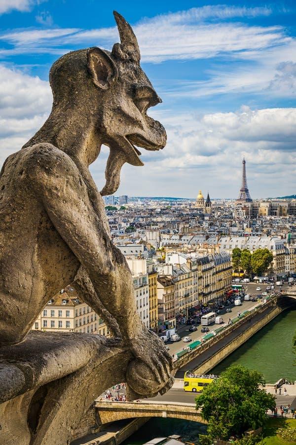 Gargouille op Notre Dame met horizon van Parijs royalty-vrije stock fotografie