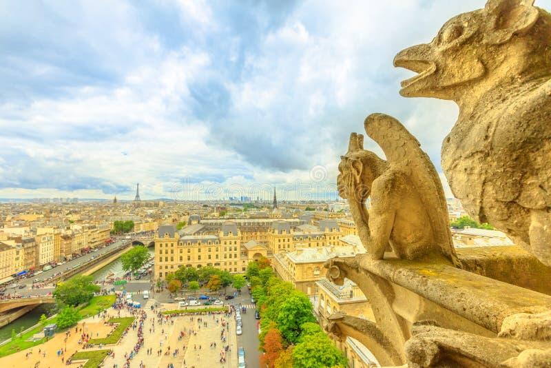 Gargouilles van de Kathedraal van Notre Dame royalty-vrije stock foto