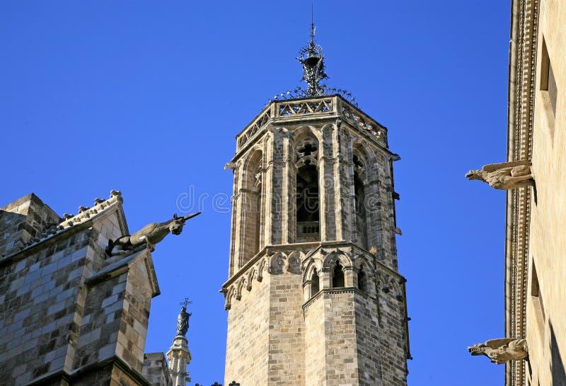 Gargouilles van de Kathedraal van het Heilige Kruis, Gotic Barri, Barcelona, Spanje stock foto's