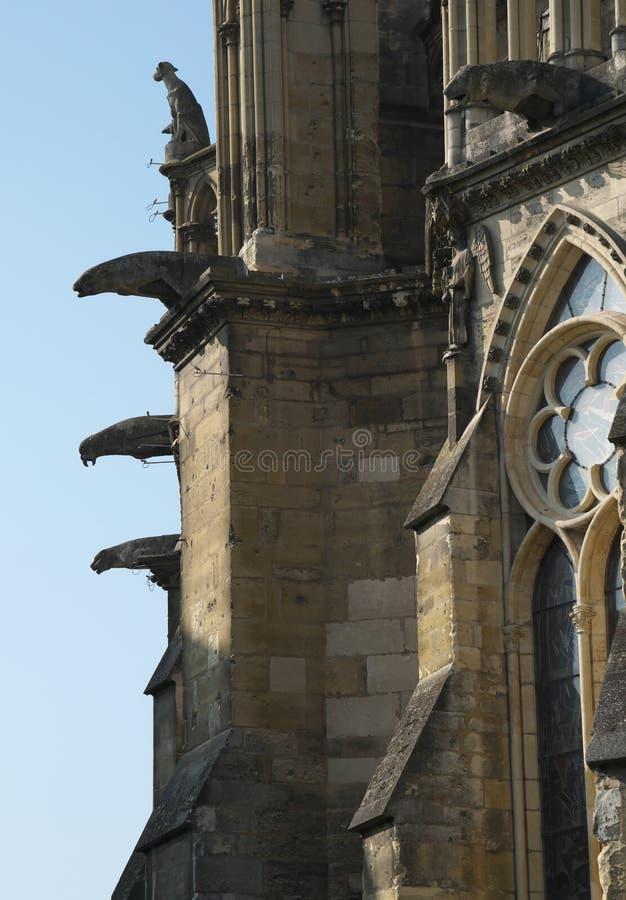 Gargouilles van Kathedraal van Notre-Dame of Onze Dame van Reims in Reims, Frankrijk royalty-vrije stock fotografie