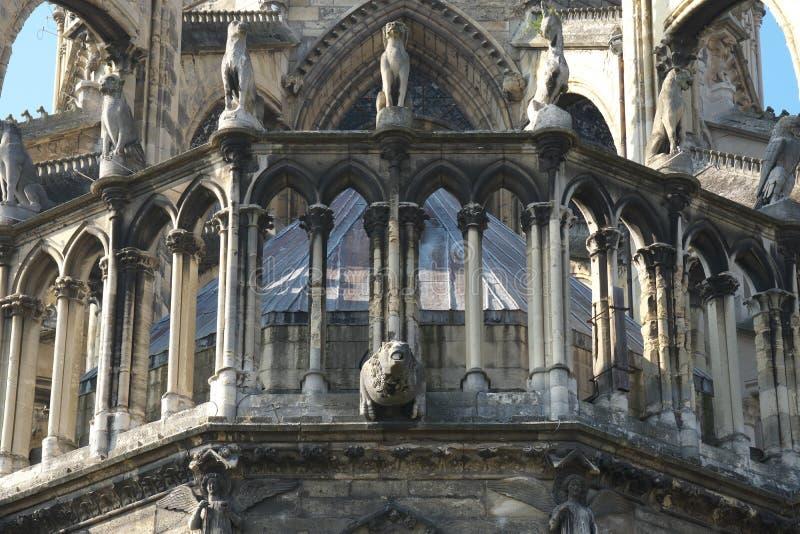 Gargouilles van Kathedraal van Notre-Dame of Onze Dame van Reims in Reims, Frankrijk stock fotografie