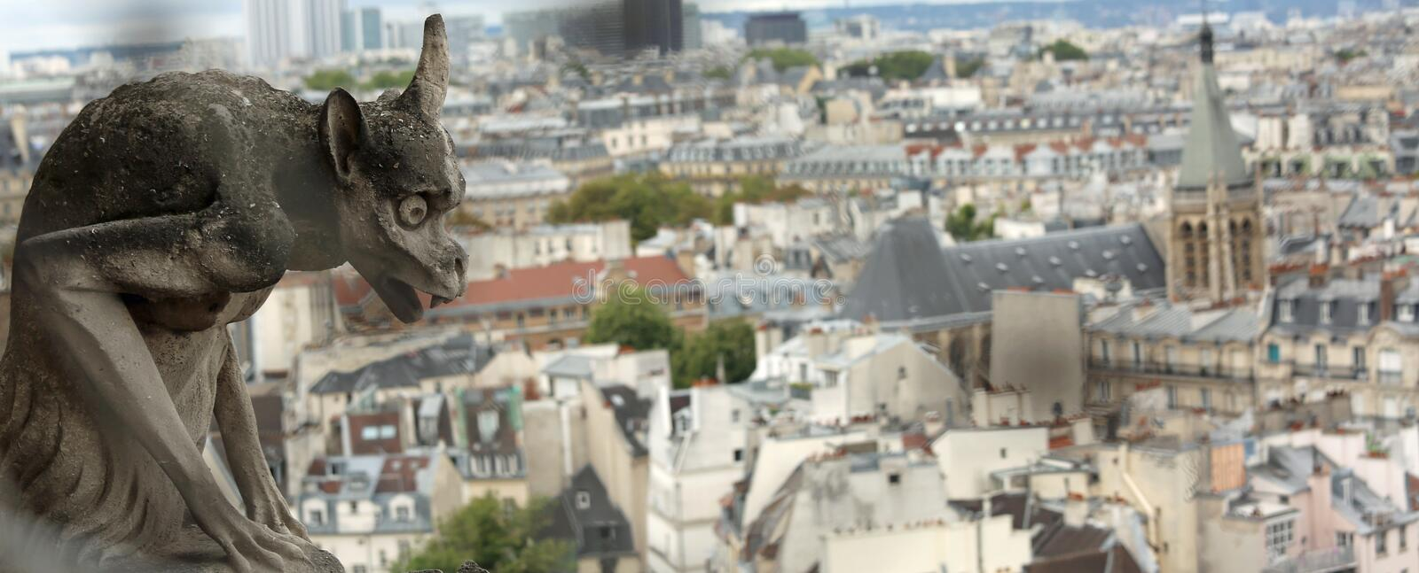 Gargoyle of the cathedral of Notre Dame in Paris in France. Gargoyle of the cathedral of Notre Dame and the panorama of Paris in France stock photos