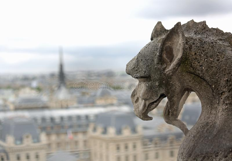 Gargoyle in the church of Notre Dame in Paris. In France with the city in the background royalty free stock images