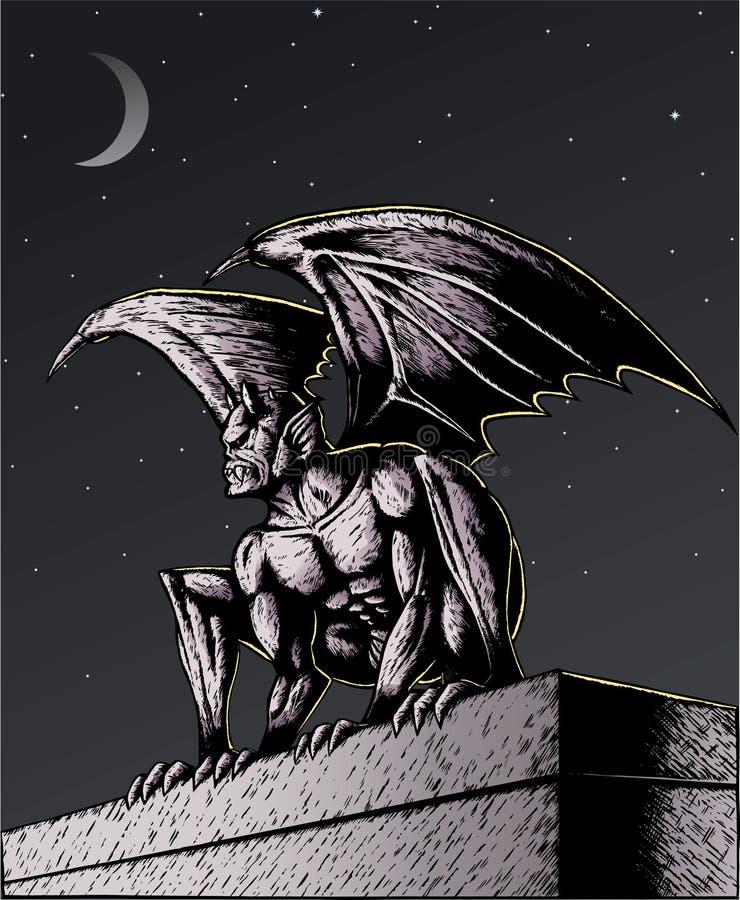 Gargoyle en la noche ilustración del vector