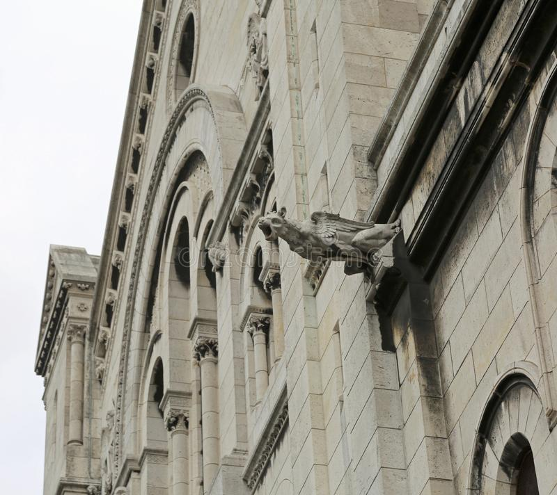 Gargoyle of the gothic church of Notre Dame in Paris, France. Gargoyle of the facade of the church of Notre Dame in Paris, France stock photography