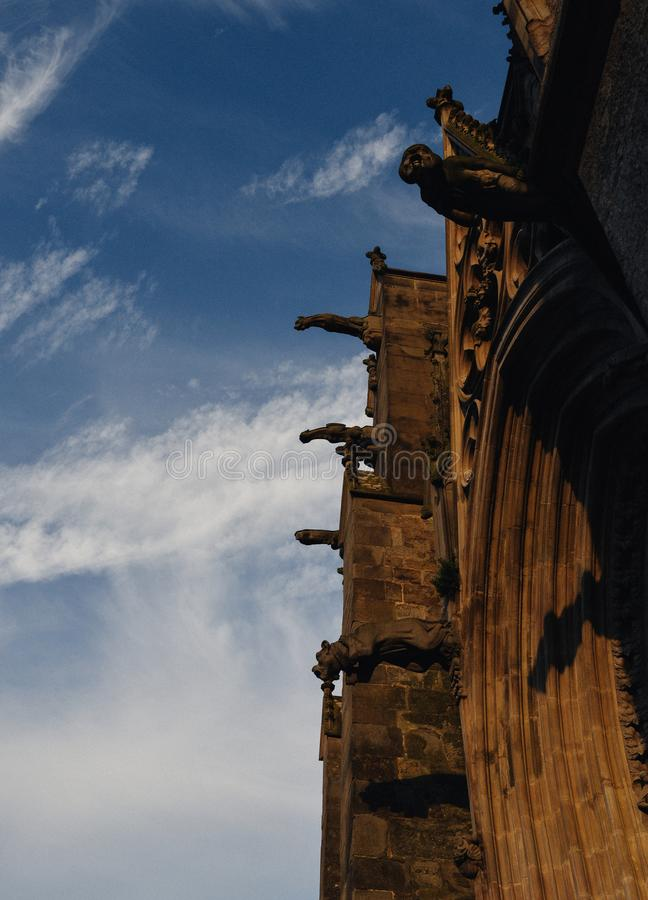 Gargoyle or gargouille - Carcassonne, France. Carcassonne, France - June 14th, 2018: Gargoyle or gargouille - Carcassonne France stock photos