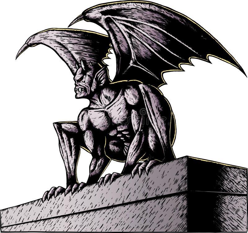 Gargoyle na noite ilustração stock