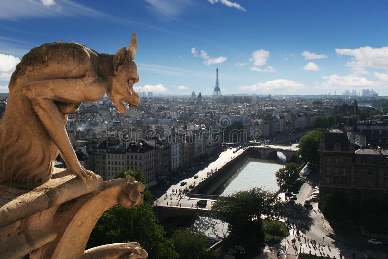 Gargoyle of Notre Dame Cathedral in Paris stock photo