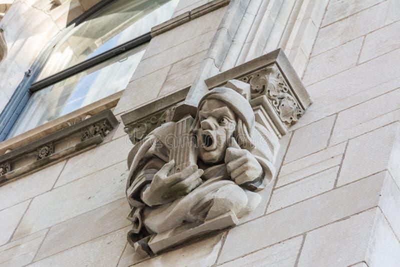 Gargoyle presiding above the Boston Avenue entrance to Philtower Building in Tulsa, OK. Tulsa, Oklahoma, United States of America - January 20, 2017. Gargoyle royalty free stock images