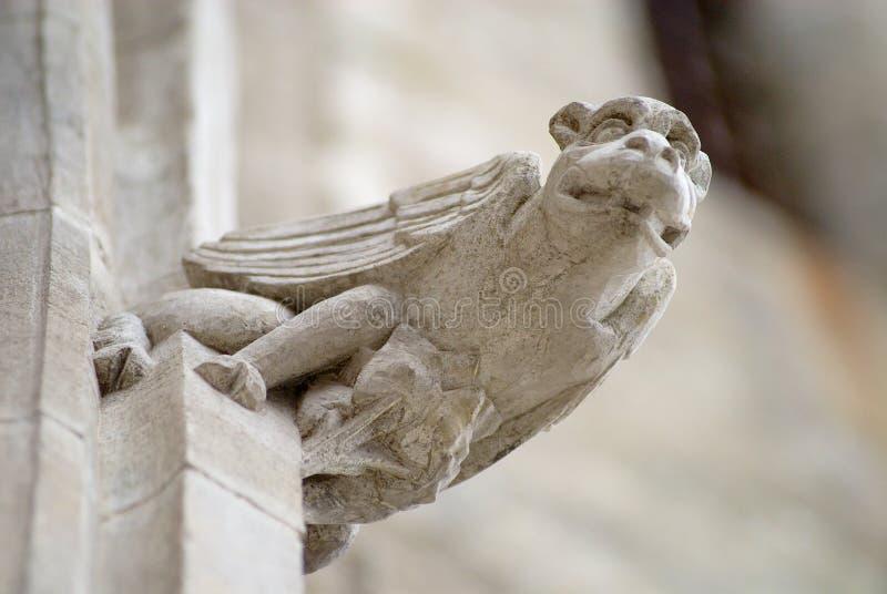 Gargoyle at the wall of the Basilique Saint-Nazaire-et-Saint-Celse in Carcassonne, France. stock photo
