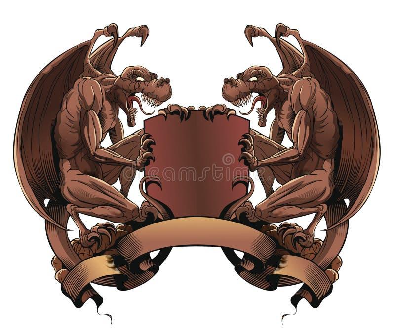 Gargoyles με την ασπίδα και το έμβλημα απεικόνιση αποθεμάτων