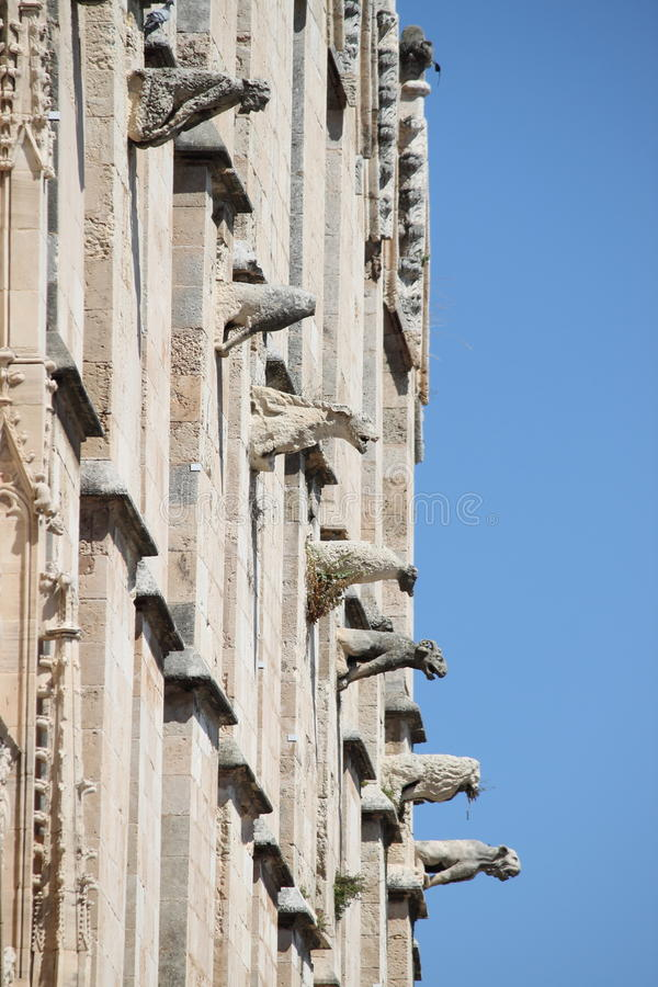 Gargoyles of Palma de Mallorca cathedral royalty free stock images