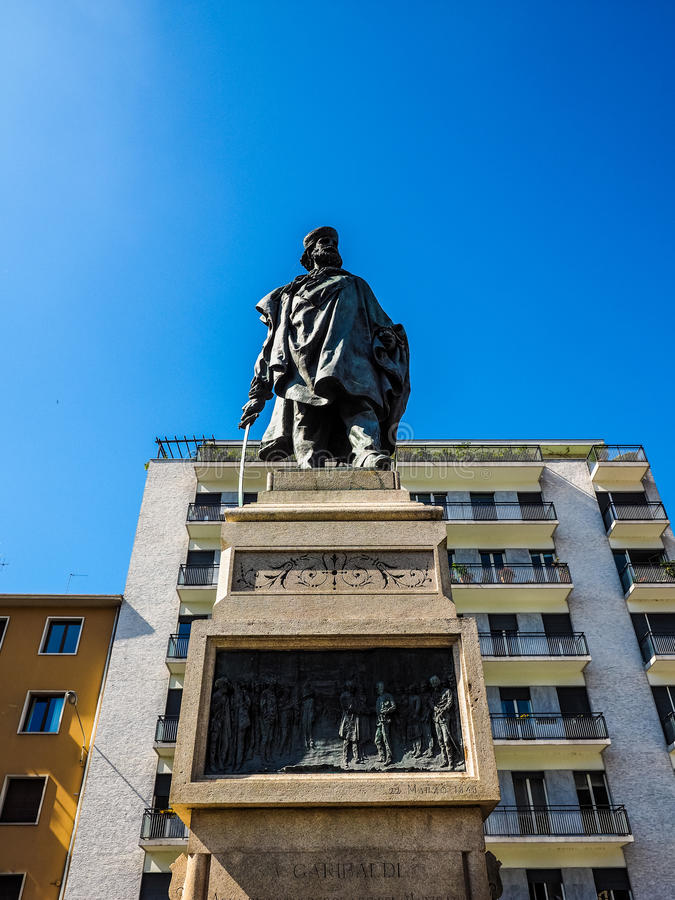 Garibaldimonument in Como (HDR) royalty-vrije stock afbeeldingen