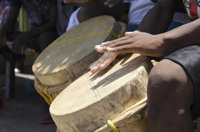 Garifuna drumming royalty free stock images