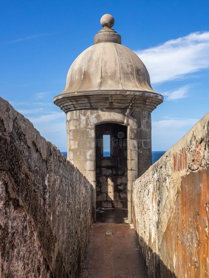 Garita au fort d'EL Morro à San Juan, Puerto Rico photos libres de droits