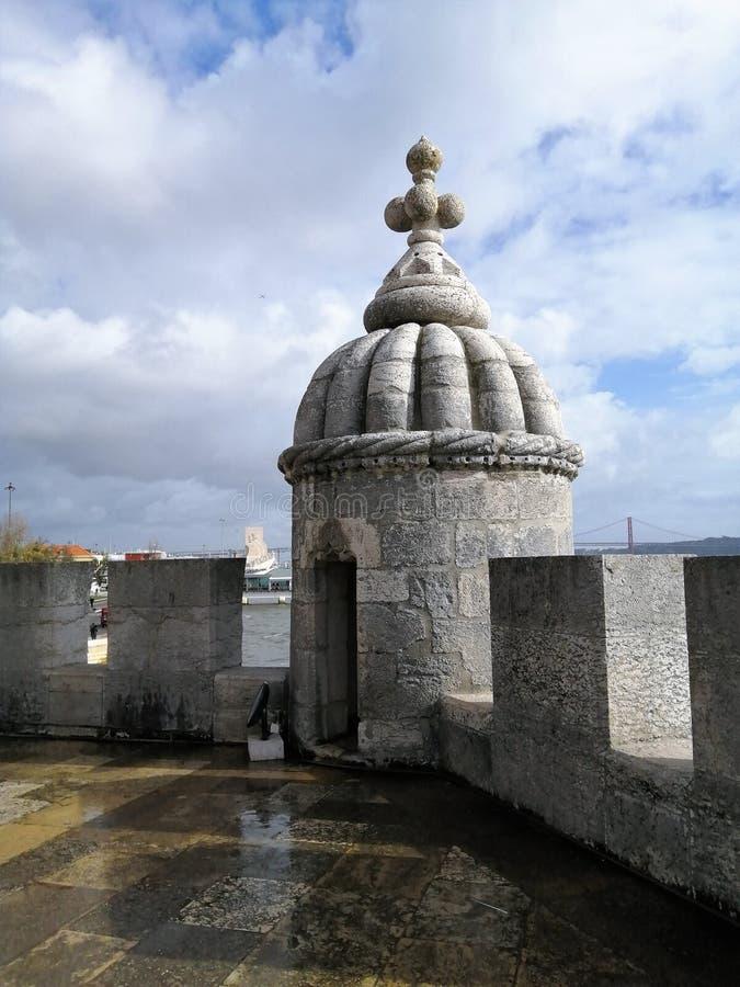 Garita nella torre del fiume Belem-Tajo-Lisboa-Portogallo fotografie stock libere da diritti