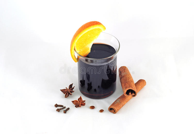 Garjachego mulled wine with cinnamon and orange. Garjachego mulled wine with cinnamon, orange, cloves and star anise stock photos