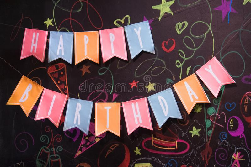 Garland of flags with the inscription Happy Birthday stock photo