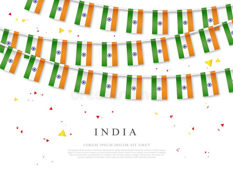 Garland of Indian flags. Independence Day of India. Vector illustration royalty free illustration