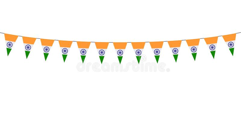 Garland with Indian pennants on white background vector illustration
