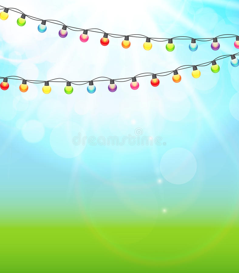 Garland Lamp Bulbs Festive colorido em Backgro brilhante natural ilustração royalty free
