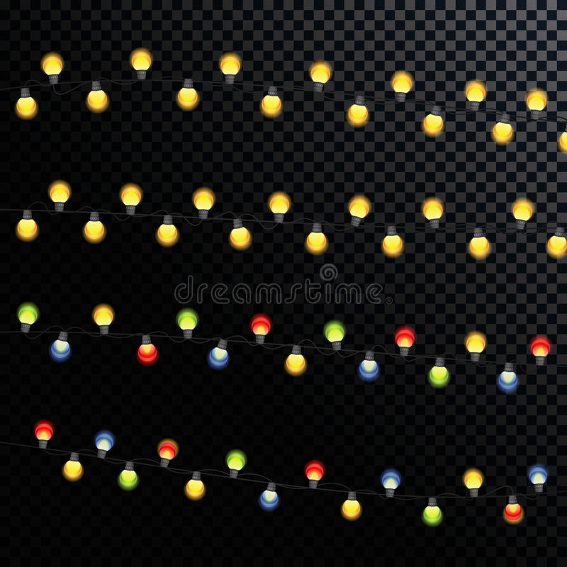 Garland Lamp Bulbs multicolore brillant d'or abstrait sur un transport illustration libre de droits