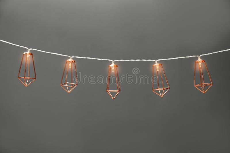 Garland of lamps with light bulbs stock photography