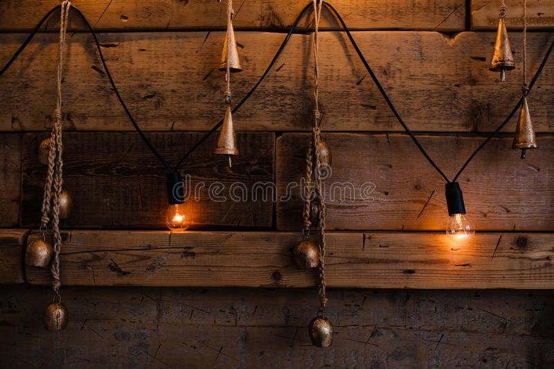 Download garland lamps over wooden board fence decoration background vintage light bulb on wooden