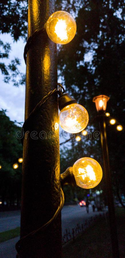 Garland of lamps on street lamps.  Evening city. royalty free stock photo