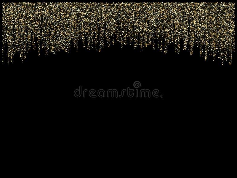 Garland lights gold glitter hanging vertical lines vector holiday background. stock illustration