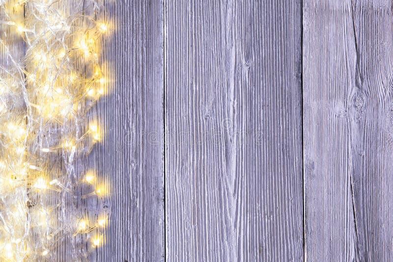 Garland Lights Wood Background, textura del tablero de madera de la luz imagen de archivo