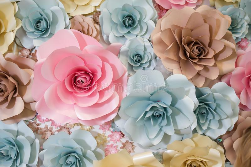 Garland of paper flowers. Luxurious garland of paper flowers stock photos