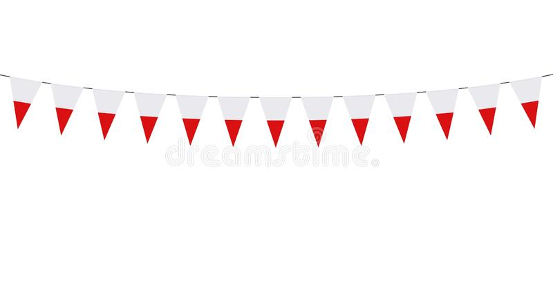 Garland with Polish pennants on white background vector illustration