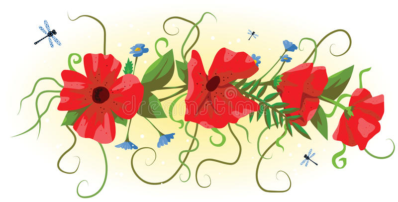 Download Garland Of Red Poppies Royalty Free Stock Images - Image: 26249539