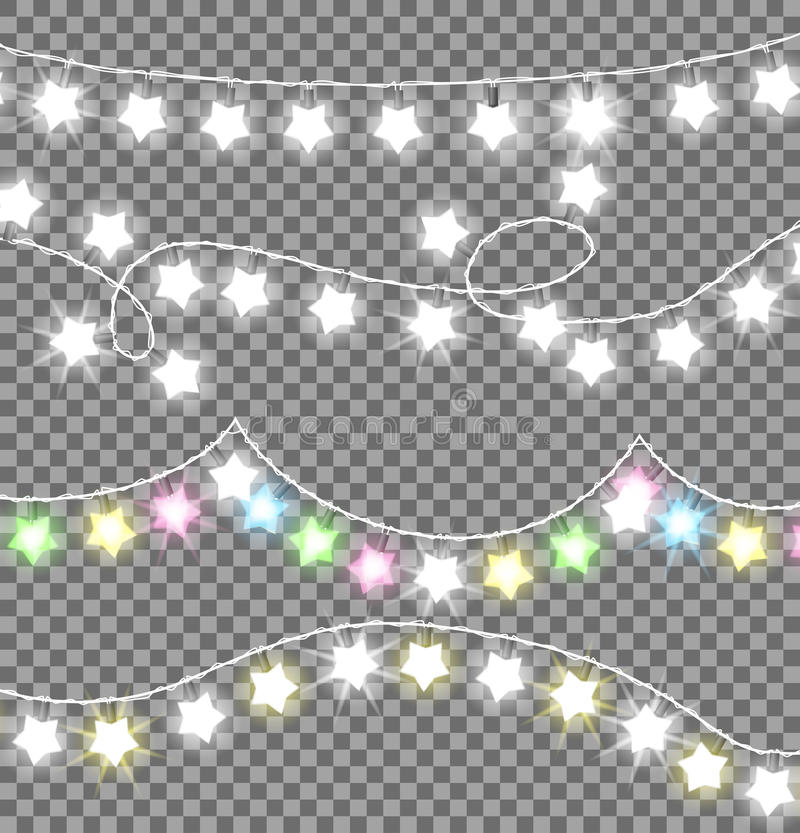 Garland Ropes with Bulbs on Transparent Background. Garland twisted ropes with white and colourful bulb in star shape on transparent background. Xmas realistic stock illustration